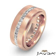 Men's Eternity Wedding Band Channel Princess Diamond Ring 14k Rose Gold 1.70 Ct.