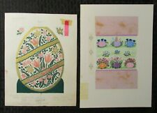 """HAPPY EASTER Greetings Decorated Eggs 7x9"""" Greeting Card Art #2234 2804 LOT of 2"""