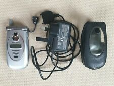 Vintage Panasonic EB- GD 87 Silver Mobile Phone With Leather Case And Charger