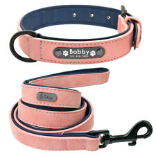 Genuine Leather Dog Collar and Leash Set Inner Padded Customized Engraved Collar