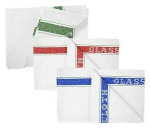 Pack Of 10 Professional Cotton Glass Tea Towels Bar Glass Catering
