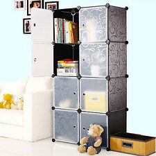 8 Gates 4 Tiers DIY Interlocking Book Shelves Storage Cubes with Metal Grid Base