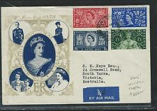 GREAT BRITAIN  (P0209B) 1953 QEII CACHET CORONATION FDC RARE CANCEL
