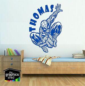 boys wall art spiderman personalised sticker bedroom kids marvel super hero fun
