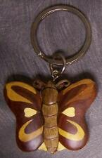 Intarsia Solid Wood Key Ring Animal Butterfly NEW Natural Finish