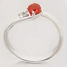 NEW ORANGE RED SAPPHIRE & DIAMOND 9ct WHITE GOLD RING!