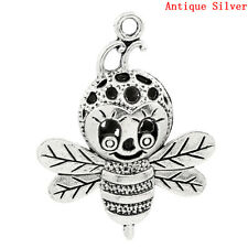2 ANTIQUE SILVER LARGE BEE CHARMS/PENDANTS 37mm x 29mm JEWELLERY NECKLACE (54D)