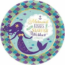MERMAID WISHES LARGE PAPER PLATES (8) ~ Birthday Party Supplies Dinner Luncheon