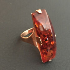 Vintage retro 14k 583 rose gold ring with Baltic Amber 1960s Russia USSR size 7