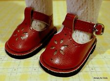 "**SALE** DARK RED T-STRAPS DOLL SHOES fits American Girl 14.5"" WELLIE WISHERS"