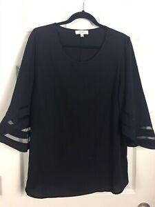 Umgee + Sz XL black Striped Bell Sleeves Dressy Top Blouse