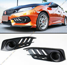 FOR 2016-17 10TH GEN HONDA CIVIC FOG LIGHT BEZEL COVER W/ WHITE & AMBER LED DRL