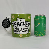 "NEW ""I'm A Teacher, What's Your Superpower?"" LARGE 30 oz! Coffee Mug Pencil Cup"