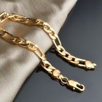 "Women's/Men's Bracelet 18K Yellow Gold Filled Chain 8"" Link Fashion Jewelry"