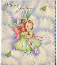 VINTAGE CHRISTMAS GIRL PEPPERMINT CANDY CANE ICICLES SNOWFLAKES GREETING CARD