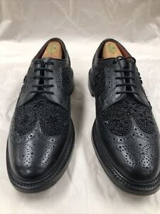 FLORSHEIM DUCKIE BROWN 10D Black Wingtips, Ornate Beaded, Barely Worn, Rare