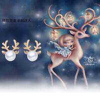 Christmas Deer Ear Stud Earrings Women Rhinestone Crystal Pearl Jewelry Gift