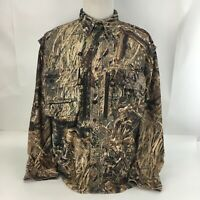 Cabela's Button-Front Vented Camouflage Shirt Jacket Long Sleeve Zip Pockets XL