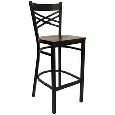 Flash Metal Restaurant Bar Stool, Black, Mahogany - XU-6F8BXBK-BAR-MAHW-GG