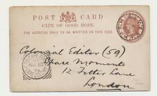 Cape Of Good Hope a Gb 1895 , Pez River a Londres, 1d Tarjeta