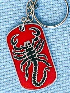 Scorpion Pewter Keyring Red and Black Mens Womens Boys Girls 50mm  KR0195