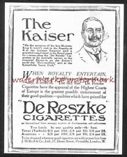 PUNCH Magazine Advert (1911). KAISER endorses DE RESZKE Cigs. Free UK Postage.