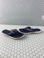 Sperry Top Sider Navy Blue Leather/Textile Flip Flop Sandals Women's Size 7.5 M