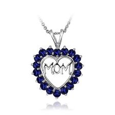 Sterling Silver Created Blue Sapphire MOM Open Heart Necklace
