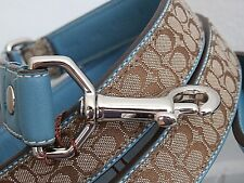 COACH SIGNATURE KHAKI AND BLUE (TURQUOISE) L LARGE L DOG LEASH FOR COACH COLLARS