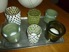 6 tolle Teelichthalter - Teelichtgläser - Windlichter Glas grün und bunt