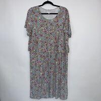 J Jill Womens Floral Jersey Knit Dress Top Overlay Blue Size XL
