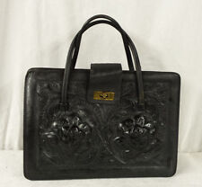Vintage Hand-Tooled Genuine Leather Purse Hand Bag Black
