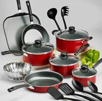 18-Piece Set Of Pots And Pans Cookware Large Cooking Professional Non Stick|Red|