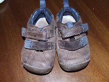 Clarks 4.5 MW Brown Dressy Shoes Infant Toddler Boy Blue Velcro Walking Church