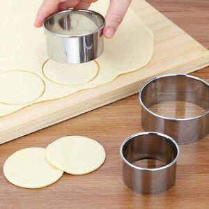 Steel Round Smooth /& Curve Dumplings Wonton Skin Cut Cake Baking Cookie Cutters