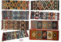 Kilim Floor Rug Indian Handmade Wool Jute Area Runner Yoga Meditation Mat 2x6'