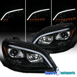 For 2006-2008 Mercedes 06-08 Benz W164 Black Projector Headlights+LED Sequential
