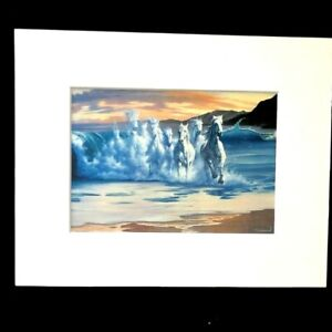 """The Wave"" by Jim Warren 1993 8 x 10 Matted Art Print"