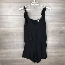 H&M Women's Size 14 Sleeveless Romper Black V-Neck Open Back Ruffle NEW