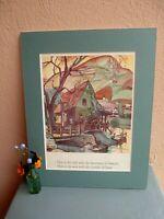 vintage illustration of mill and waterwheel by Juanita Bennett 1932