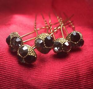 5 Bridal Wedding Prom Black Grey Clear Diamante Hair Pins