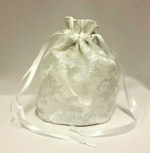 White Satin Drawstring Dolly Bag with Silver Floral Lace Evening Wedding Bridal