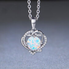 Double Love Design White Fire Opal Gemstone Silver Necklace Pendants For Mother