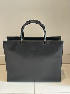 Gucci Bag Black Leather Bamboo 90s