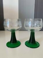 Luminarc France Cordial 2 Glasses Green Beehive Stem Etched Grapes Leaves Design