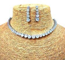 Gopalvilla American Diamond Alloy White Designer Gold Plated Necklace Earrings