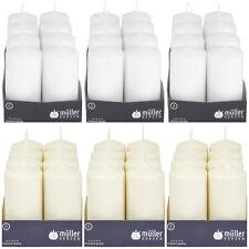 8 - 24 Stumpenkerzen 120 x 60 mm Müller Qualitäts Kerzen Weiß/Creme ab 1,25€/Stk