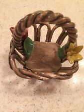 Nuova Capodimonte Small Basket Vintage Collectible Lovely With Two Flowers