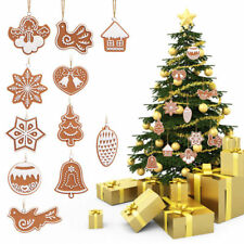 11pcs Clay Christmas Tree Hanging Ornaments Snowflake Bell Xmas Party Decors