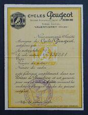 Ancienne carte de vélo-moteur garanti CYCLES PEUGEOT 1947